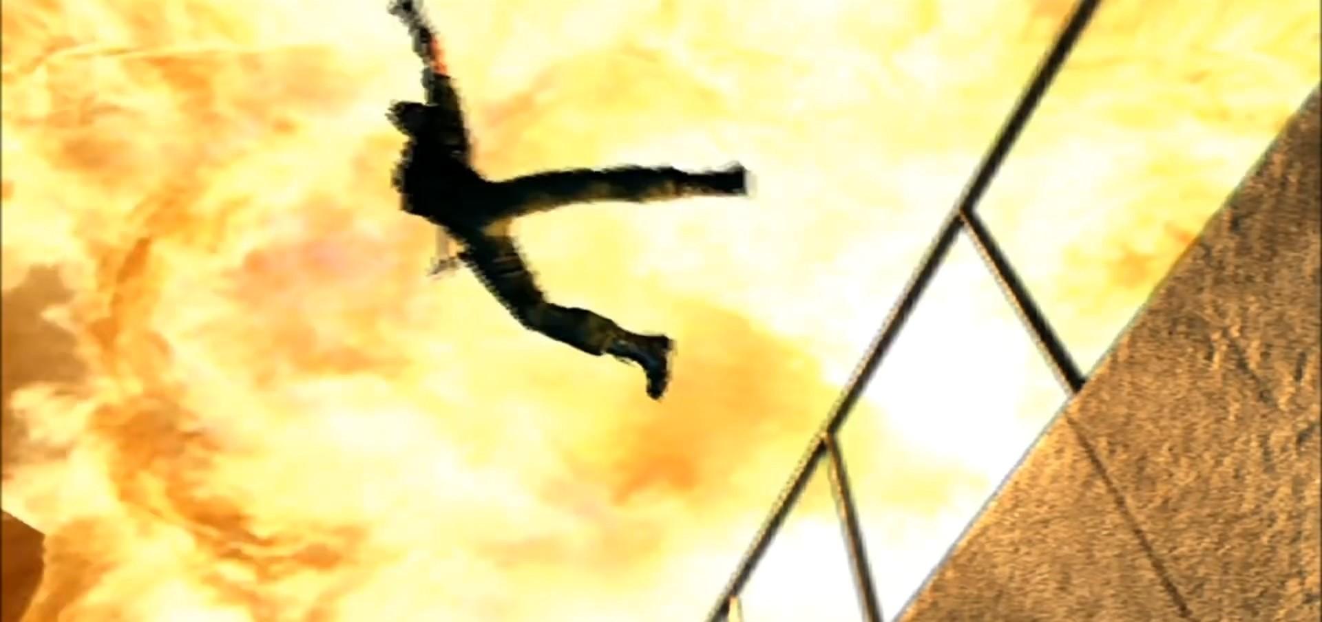 バイオコードベロニカ 爆風で戦闘機へダイブするクリス